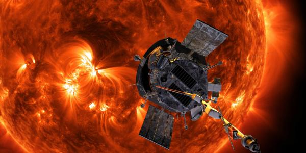 artist's rendition of Parker Solar Probe in front of the Sun