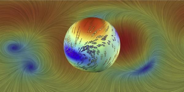 Gravitational wave-induced proper motions depicted as streamlines (background) and animated on the Science on a Sphere installation at Fiske (foreground).