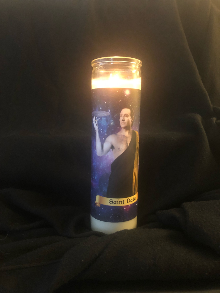 saint candle featuring Brent Spiner as Data