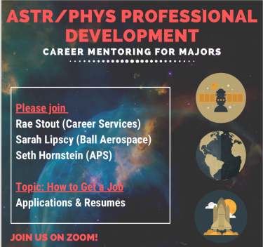 Promo flyer for ASTR/PHYS Professional Development seminar on how to get a job