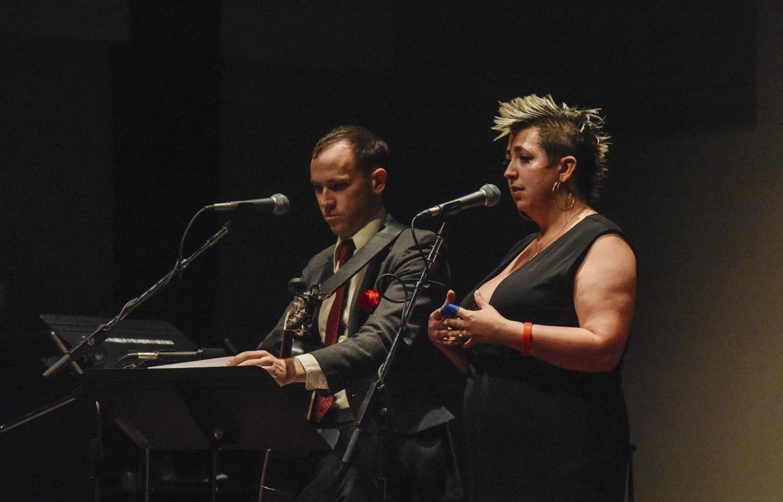 Jeremiah Lockwood and Jewlia Eisenberg performing on stage