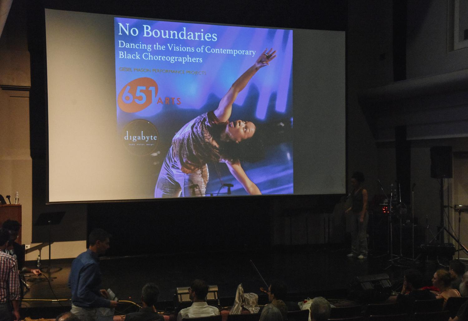 "Dancing the Visions of Contemporary Black Choreographers"" on the screen"