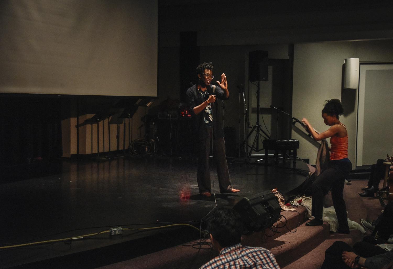 Amma Y. Ghartey-Tagoe Kootin standing on the stage speaking