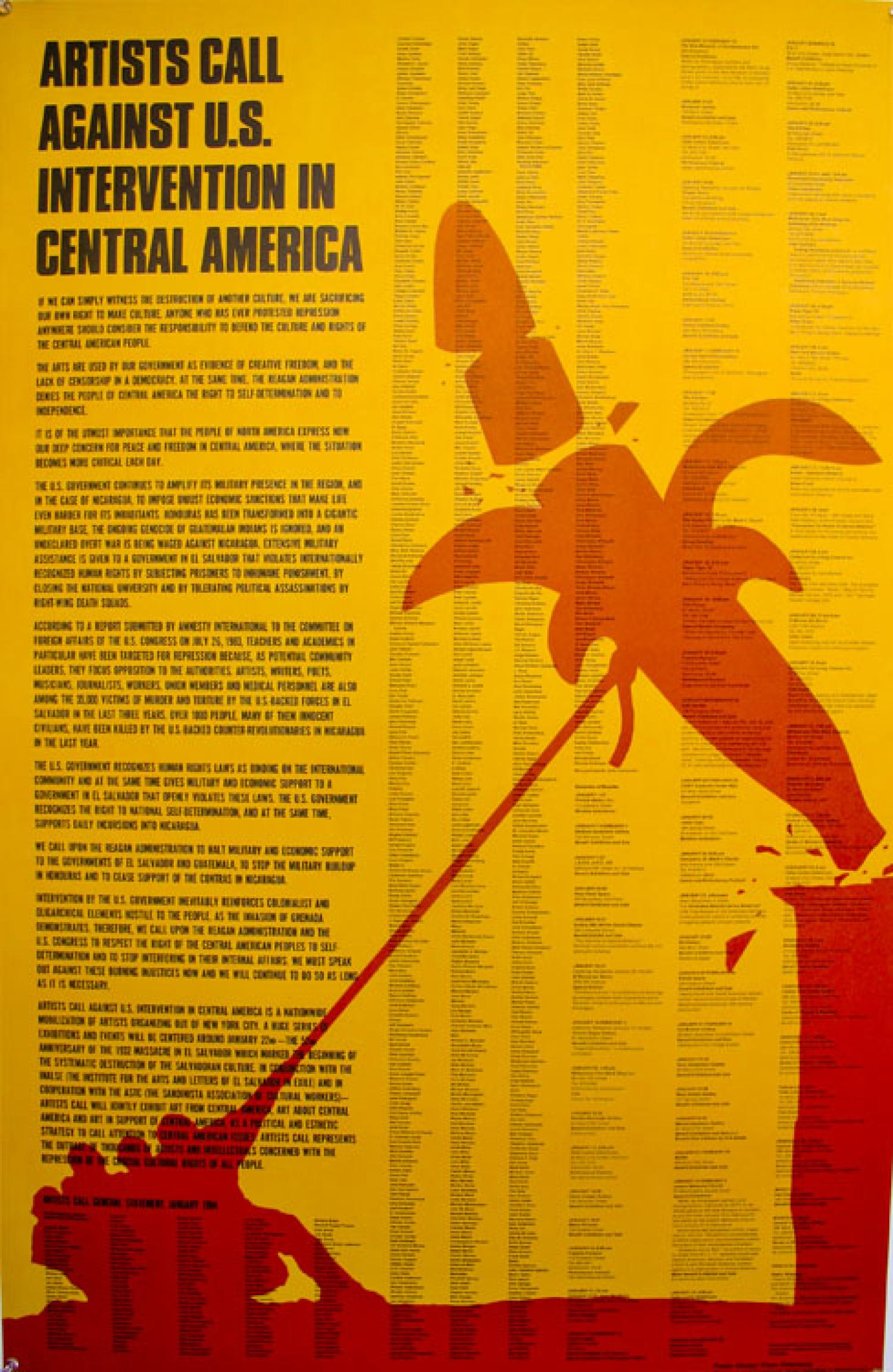 Claes Oldenburg, Artists Call Against Intervention in Central America, artist's poster
