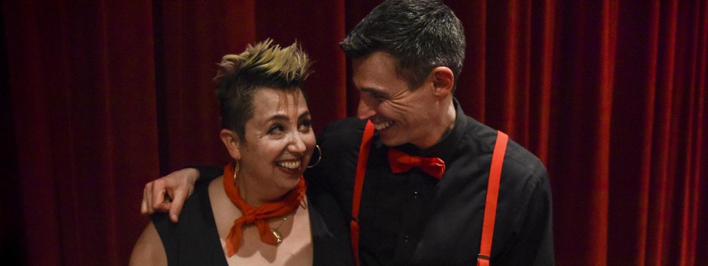 David Shneer and Jewlia Eisenberg on stage and smiling