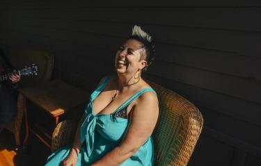 Jewlia Eisenberg on Chautauqua porch