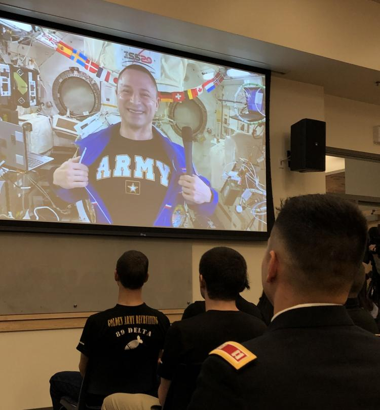 COL Andrew Morgan shows his Army pride from the space station.
