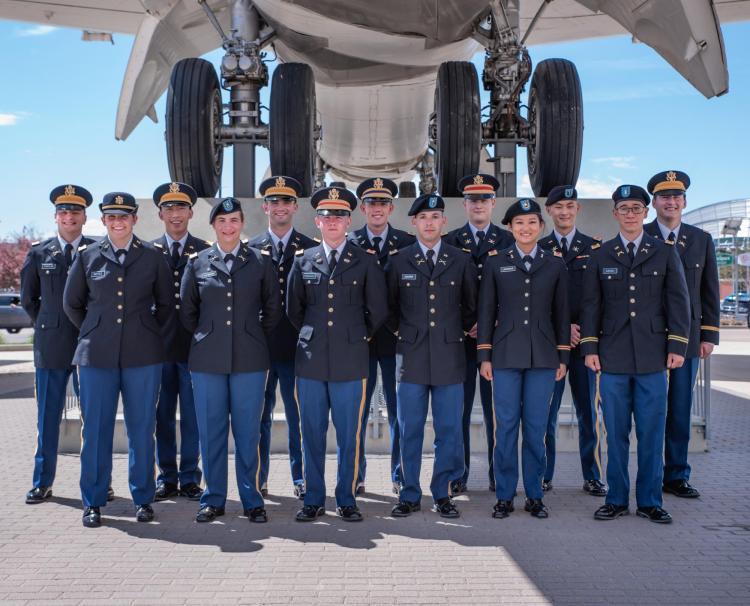 [back row] 2LT Pantlin, 2LT Park, 2LT Antonsen, 2LT Fisher, 2LT Mulcahy, 2LT Song, 2LT Boyles ; [front row] 2LT Noyes, 2LT Kerman, 2LT Feibusch, 2LT Cooper, 2LT Landwehr, 2LT Ascik. Photo courtesy of Cadet Arianna Decker.
