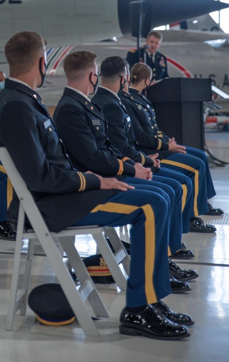 Army ROTC Cadets listening to Brigadier General Scott Sherman's speech at the Spring 2021 AROTC Commissioning Ceremony on May 7, 2021. Photo courtesy of Cadet Arianna Decker.