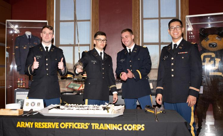 AROTC Commissioned Second Lieutenant's during the cake cutting ceremony.