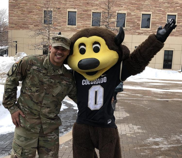 Even Chip (CU's mascot) stopped by to congratulate SGT Penn.