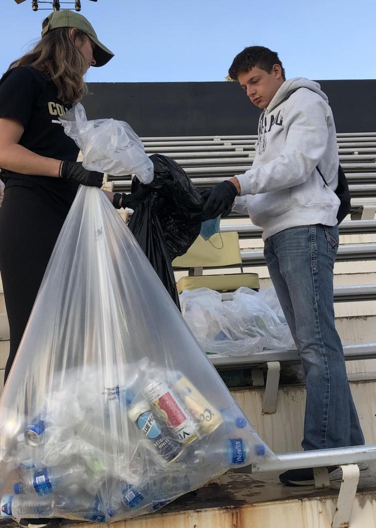 Army ROTC Cadets had to distinguish what items go into what bags – recycling, compostable or trash.