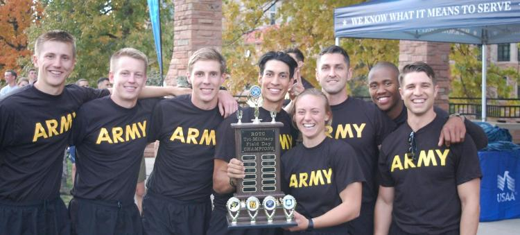 Golden Buffalo Battalion Cadets holding the trophy.