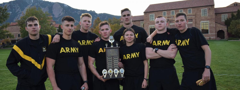 Golden Buffalo Battalion holding their trophy.