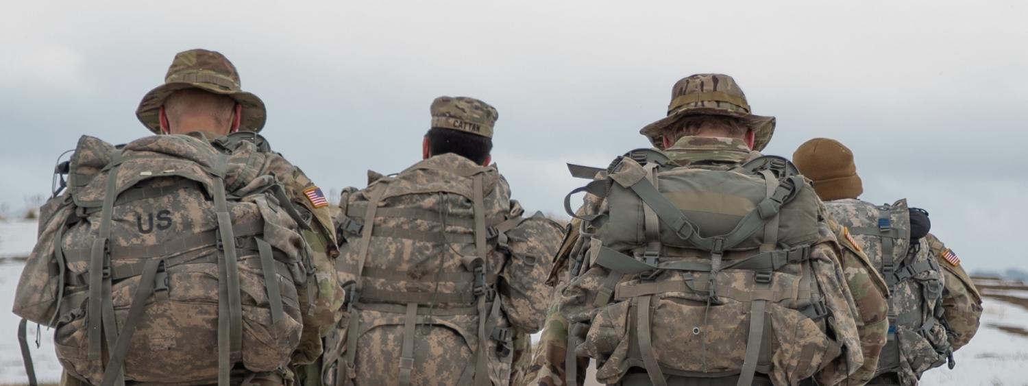 Army ROTC Cadets brave the cold weather to participate in the local Bataan event.