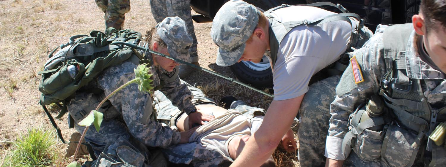 Cadets compete in first aid challenge during Ranger Challenge.
