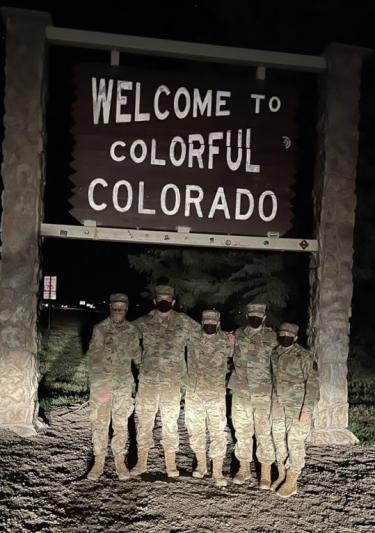 Cadets stopping for a rest and photo op on their way back into Colorado from the event.