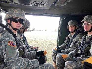 Cadets in a helicopter