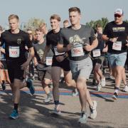 Cadets showing nice running form as the start the race. Photo courtesy of Cadet Arianna Decker.