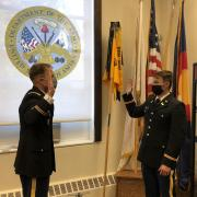Major Joshua James is swearing in Cadet Maxwell Goin to become a Second Lieutenant in the U.S. Army.