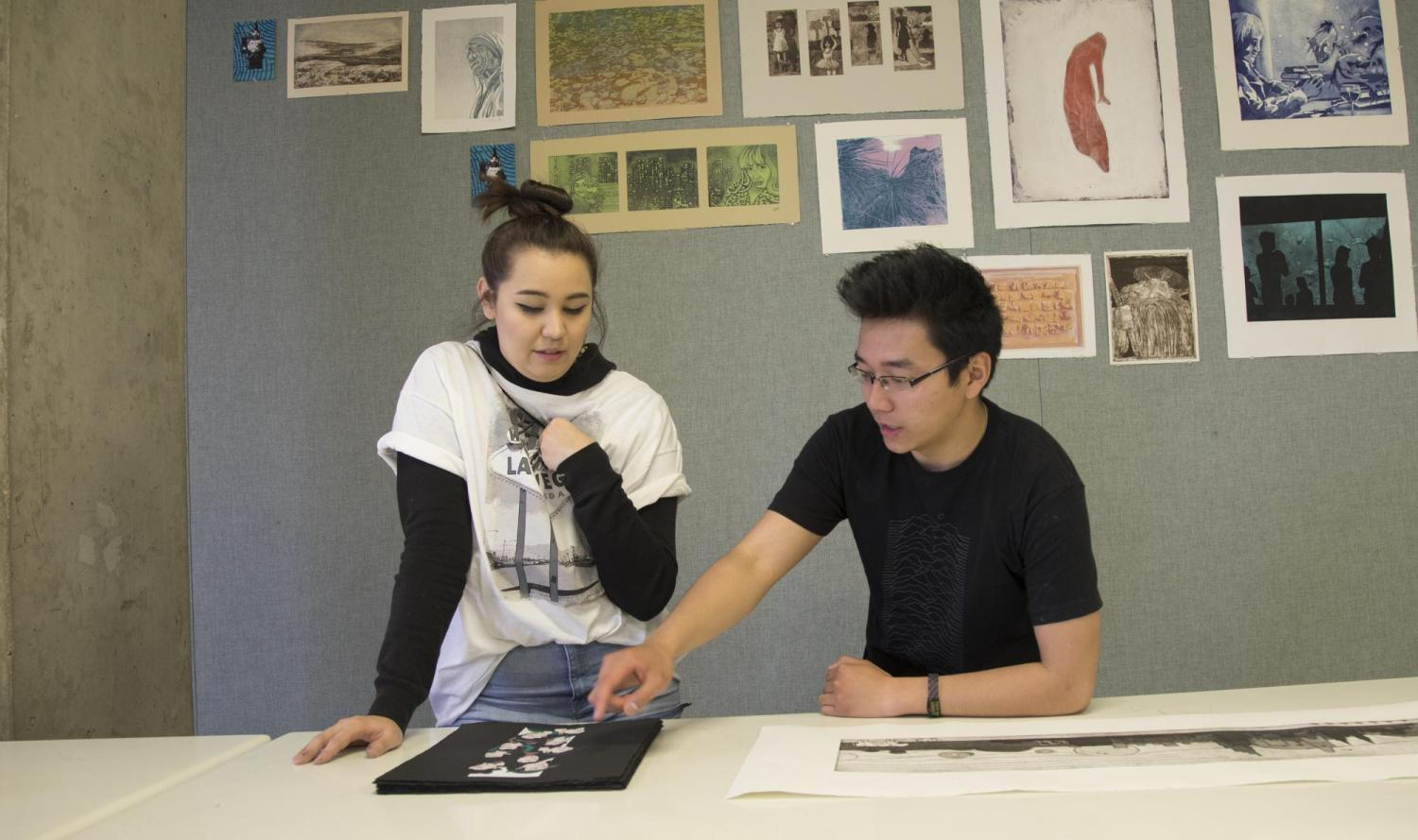 students in printmaking