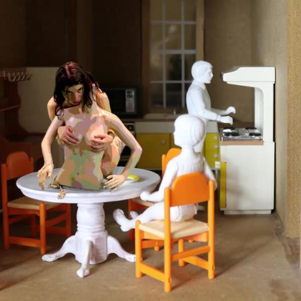 CONSUME, 2020. Video projection mapping on found object. Video Installation.