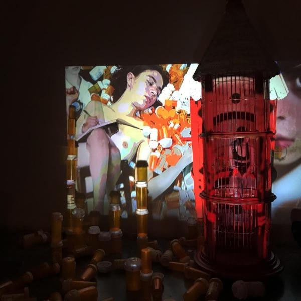 EGO, 2020. Video projection mapping on found object. Video Installation.