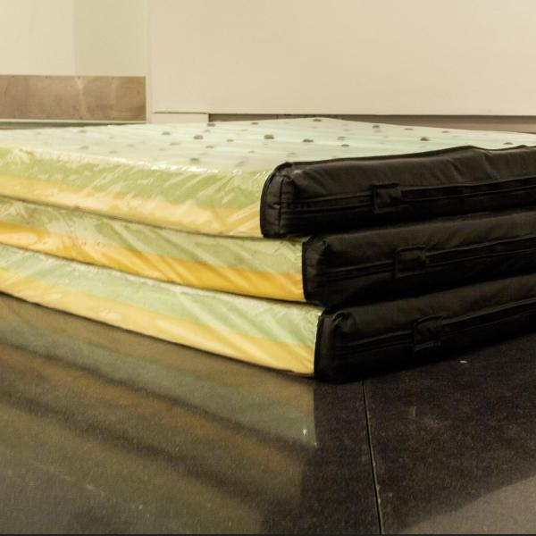 canvas, 2020 mattress foam pulled from the dumpster stuffed with steel wool soaked in peppermint oil