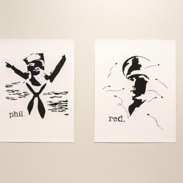 """Phil and Red,"" Screen Prints 15"" x 19"" each 2020"