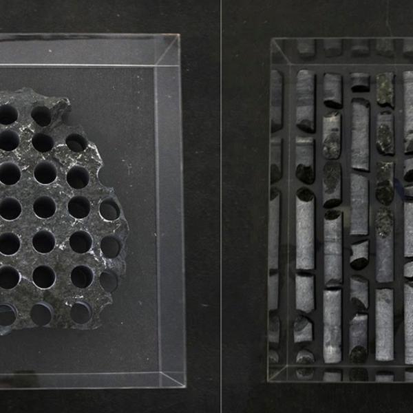 "Aidan Welby. ""Split Estate,"" granite from public land, plexi boxes. 30""x30""x12"" per box. 2019"