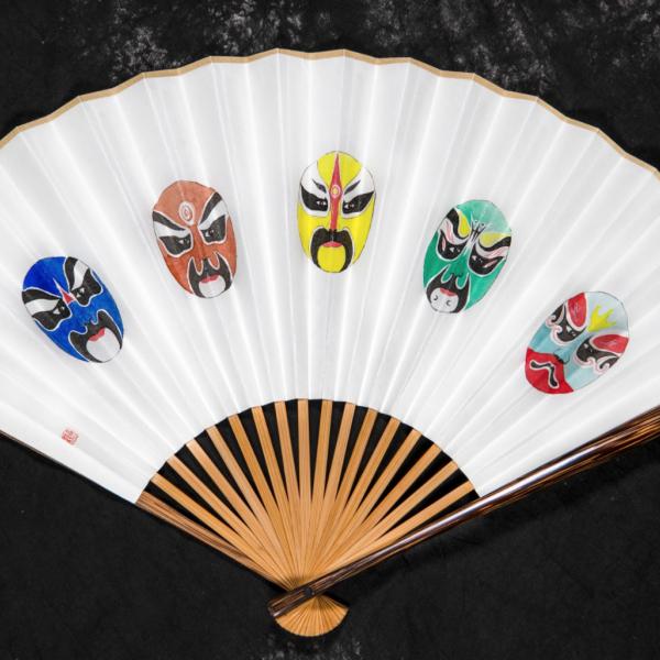 "Gengwei Gou. ""Opera,"" Folding fan. 7""x21"". 2019"