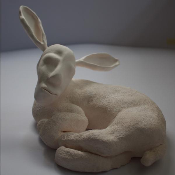 "Nelika Anderson. ""Lamb Man,"" Ceramic. 15cm x 22cm x 16cm. 2018"