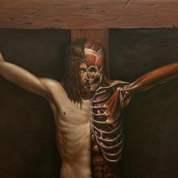 "William Frizzell. ""Bifurcation of Christ,"" acrylic on canvas. 48"" x 72"". 2019"