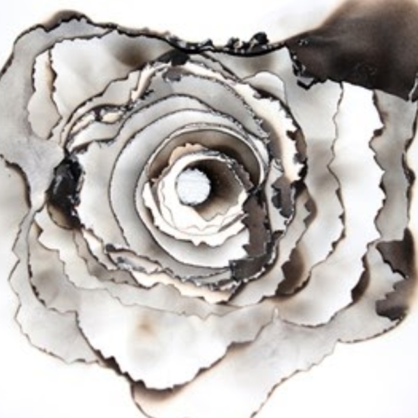 """Araceli Lazzari. """"Ozone,"""" paper, string, fire. 2019"""