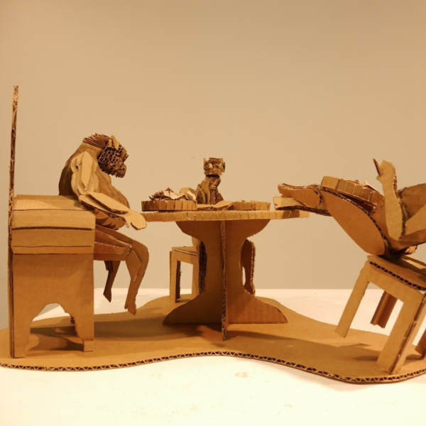 """Brandon Montalvo. """"Animalistic consumption,"""" Cardboard. 8""""x1.5""""x1.5"""". 2019"""