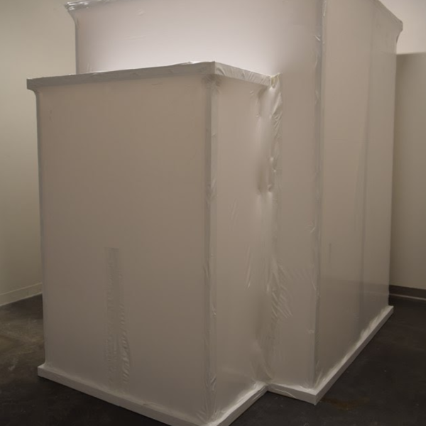 """Delaney Gardner-Sweeney. """"Collection of Self,"""" Dead skin, hair, and nail cells collected over seven days. 10'x15'x12'. 2019"""