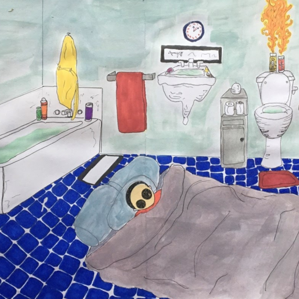 "Zsatira Diamond. ""Privacy,"" Colored pencil and marker on paper.11""x17"".2019"
