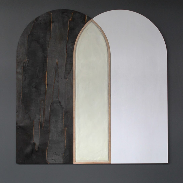 """Elspeth Schulze. """"Overlap Arch,"""" Scorched plywood, acrylic, wax. 44""""x42""""x1.5"""". 2019"""