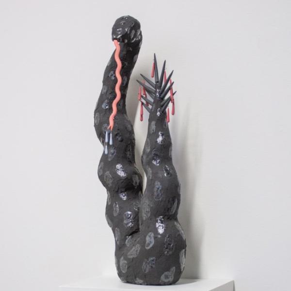 """Katie McColgan. """"Snake 1,"""" ceramic, glaze, wire. 18""""x8""""x5"""". 2019"""