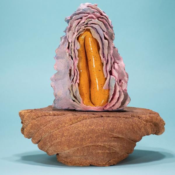 """Kyle Oberleiter. """"Lucky Mountain,""""stoneware, underglaze. 2019"""