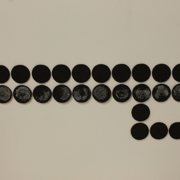 """Molly Ott. """"If the cookie breaks when I tear it apart I can eat it,"""" Oreos, chopsticks, collage, cigarettes, ceramic cups, plastic straws. 6'x14'x2'. 2019"""