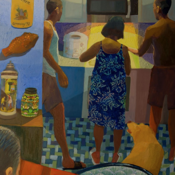"Mikey Yates. ""Merienda,"" Oil on canvas. 60""x36"". 2019"