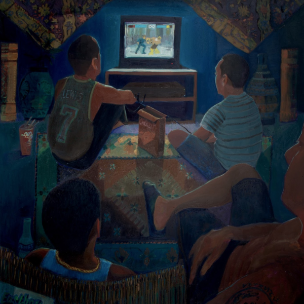 "Mikey Yates. ""Tekken,"" Oil on canvas. 60""x50"". 2019"
