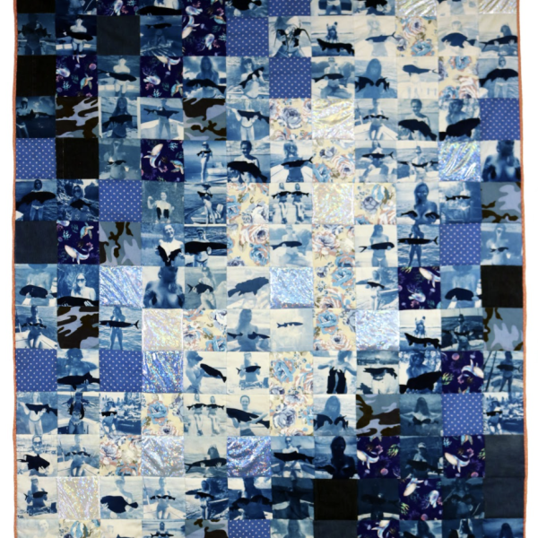 "Marcella Marsella, ""Ocean Memorial Quilt (Fish Bras),"" Cyanotype on muslin, store-bought fabric, 60 x 72"", 2020"