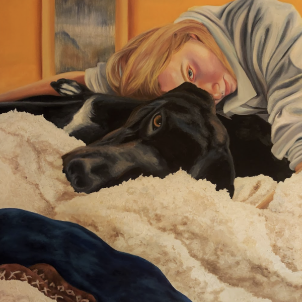 "Sam Ottlinghaus, ""A Girl and Her Dog"", Oil and Acrylic on Canvas, 36"" X 48"""