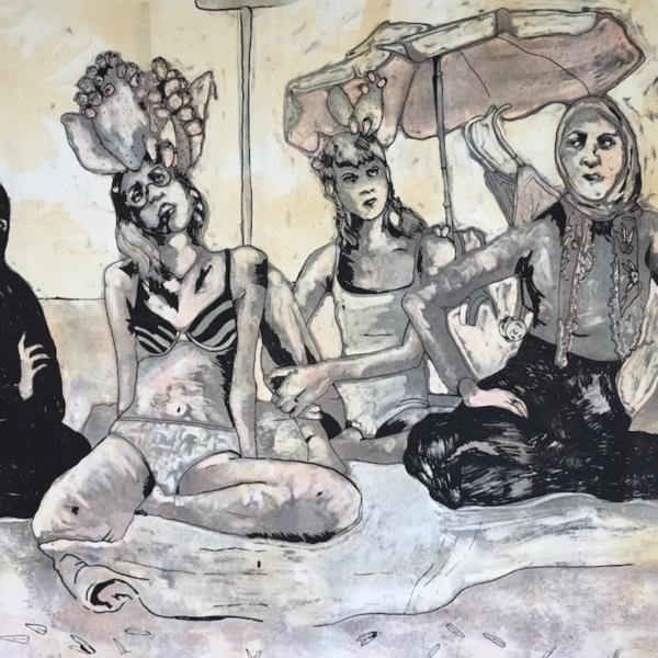 """Dilara Miller, """"Incir Bakişlar (Fig Gaze),""""Monotype and Screenprint, 22x30"""