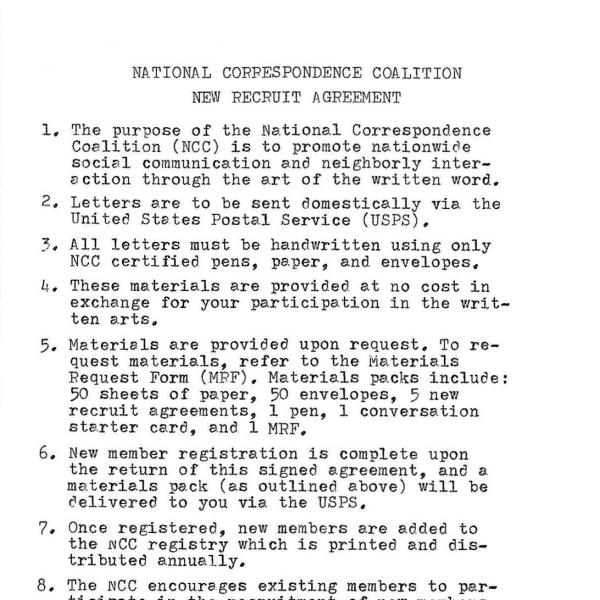 """""""National Correspondence Coalition,"""" Pack: NCC certified paper (50 sheets), NCC certified envelopes (50), New Recruit Invitations (5), monthly story starter (1), Material Request Form (1), NCC certified pen (1) Dimensions variable. 2019-ongoing"""