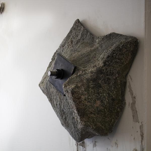 """""""Halted Rhythm,"""" Granite, steel, drywall 10' x 10' x 18"""" 2019"""