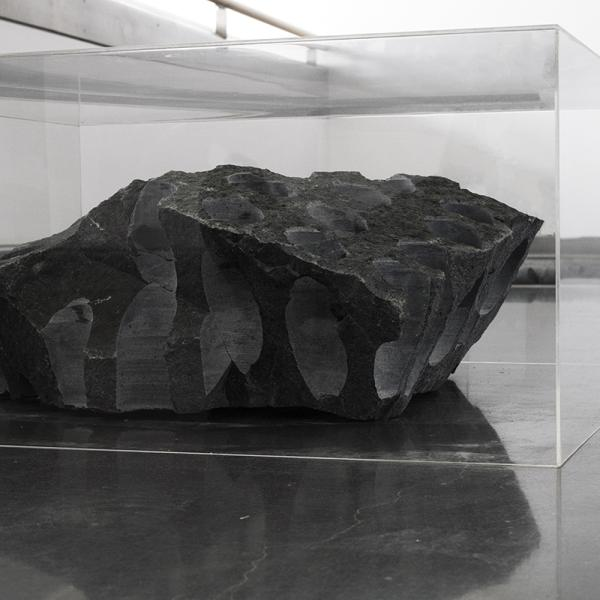 """Split Estate,"" Granite from public land, acrylic boxes Dimensions variable, each box 30"" x 30"" x 12"" 2019"