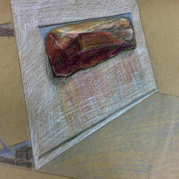 """""""Weeping Wall (Proposal),"""" Colored pencil on paper 2020"""